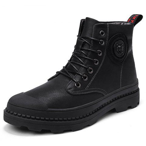 Men Comfortable High-top Boots Stylish Lace-up - BLACK EU 44