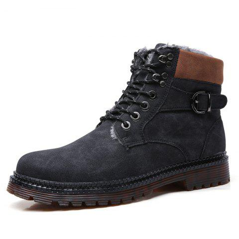 Men Plus Velvet Warm Large Size High-top Boots - BLACK EU 46