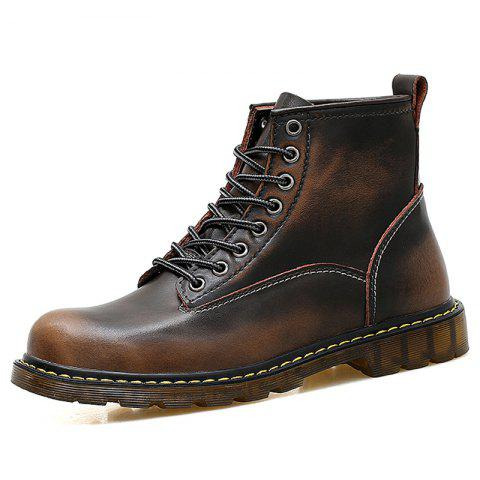 Men High Top Large Size Boots - BROWN EU 42