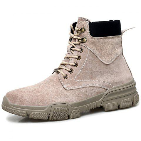 Men Lace-up High-top Boots Comfortable Warm Wearable - LIGHT KHAKI EU 43
