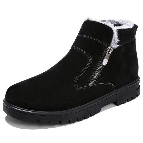 YM093 Men High-top Plus Velvet Snow Boots - BLACK EU 39