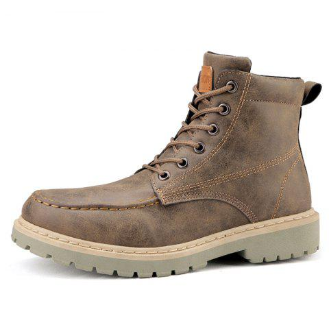 Men Lace-up Boots Comfortable Wearable - BROWN EU 42