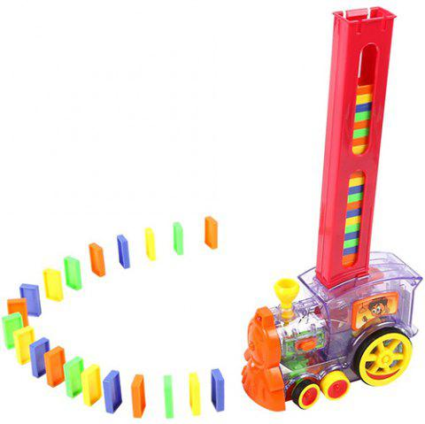 Domino Car Electric Locomotive Automatic Emission Dominoes With Sound And Light Children Educational Toys - TRANSPARENT
