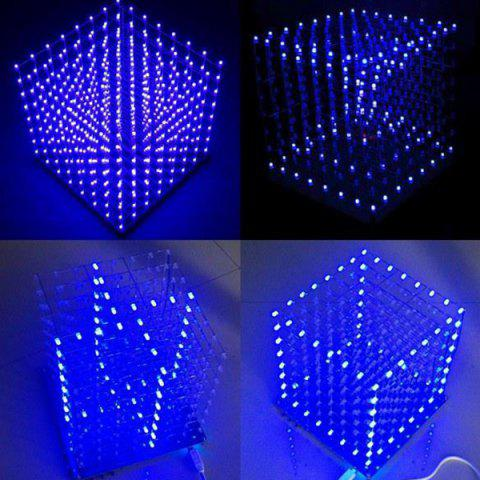 LED Cube 3D Light Square Electronic DIY Kit - BLUE