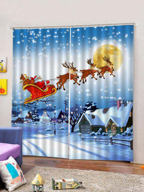 Christmas Flying Santa and Deer Printed 2PCS Window Curtains - multicolor W30 X L65 INCH X 2PCS