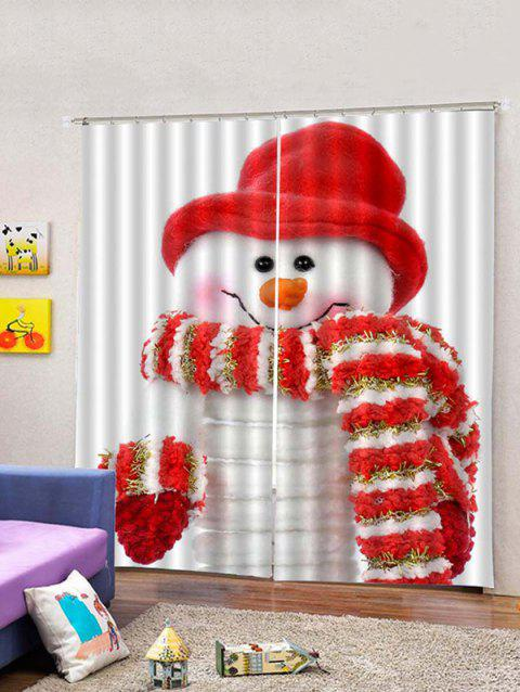 2 Panels Christmas Snowman Print Window Curtains - multicolor W30 X L65 INCH X 2PCS