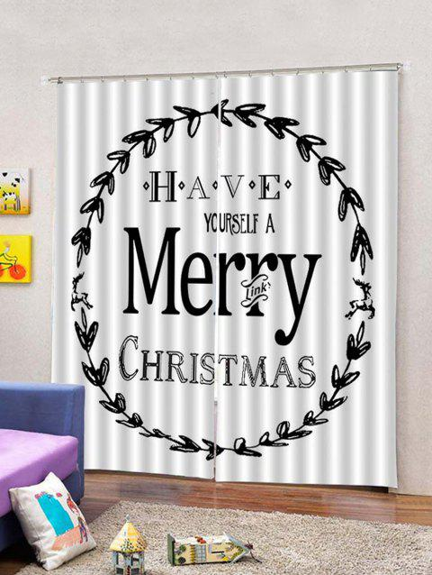 Christmas Blessing Print 2 Panels Window Curtains - multicolor W33.5 X L79 INCH X 2PCS