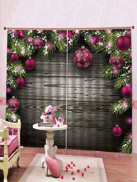 2PCS Wood and Christmas Ball Printed Window Curtains - multicolor W30 X L65 INCH X 2PCS