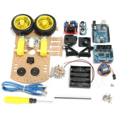 L298N Creative DIY 2WD Ultrasonic Smart Tracking Motor Robot Car Kit for Arduino - multicolor