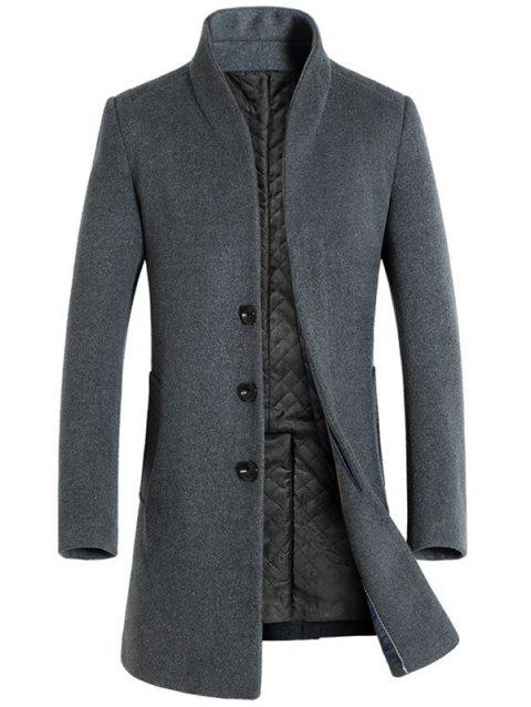 Men's  Autumn and Winter Woolen Single Row Buckle Long Slim Coat - GRAY L