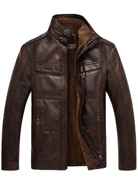 Male Middle-aged Fur Integration Leather Coat - COFFEE M