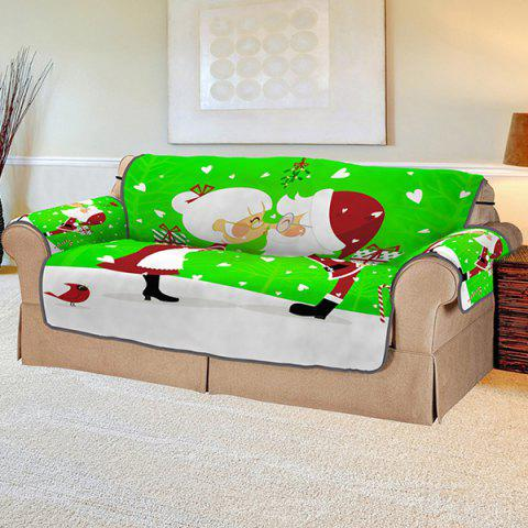 3D Digital Printed Santa Claus Couple Pattern Sofa Cover - multicolor A MULTIPLE