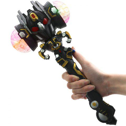 Robot Projection Magic Stick Colorful Flash Electric Music Light Shiny Toy - BLACK
