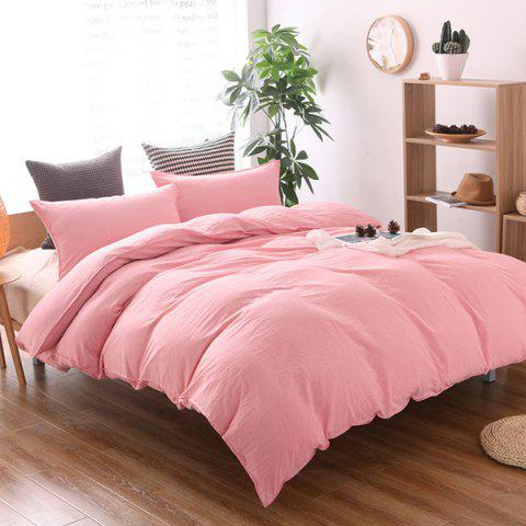 Washed Cotton Solid Color Soft Comfortable Bedding Home Textile 3pcs - PINK KING