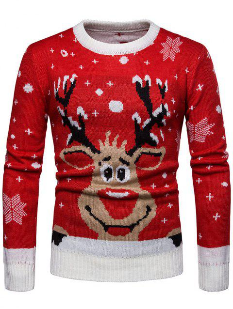 Casual Christmas Cute Elk Covered Round Neck Sweater - LAVA RED L