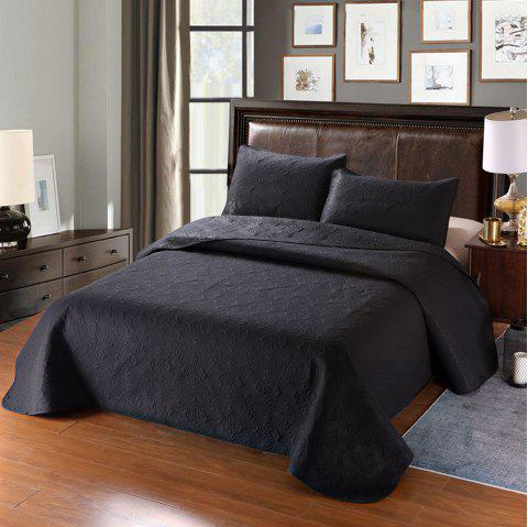 Simple Plain Style Three-piece Solid Color Bedding Set for Home Hotel - BLACK KING