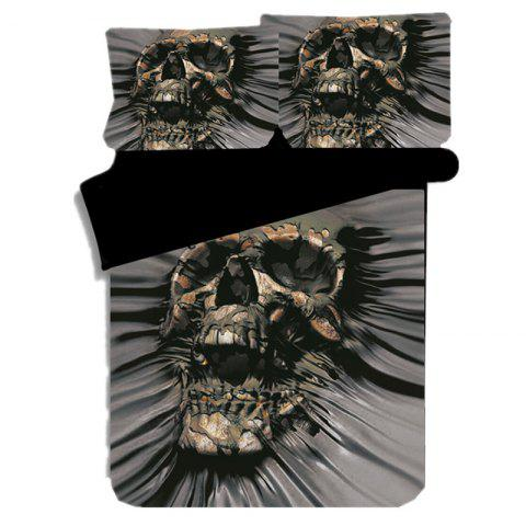 Quilt Cover 3D Ghost Head Printing Three-piece Home Textile Bedding Set - BLACK
