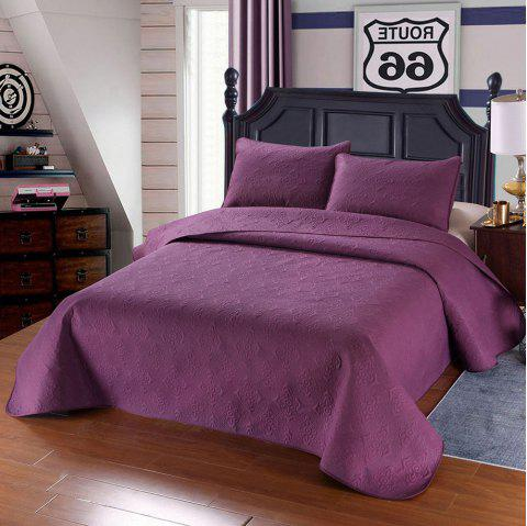 Simple Plain Style Three-piece Solid Color Bedding Set for Home Hotel - PURPLE QUEEN