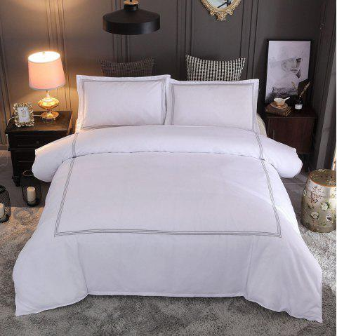 Solid Color Quilt Cover Pillowcase Set Embroidery Home Textile Hotel Bedding 3pcs - WHITE KING