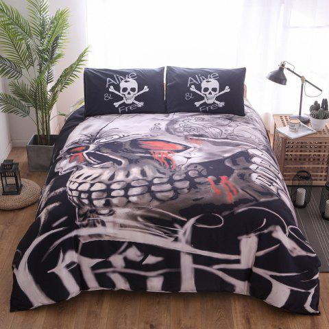 Quilt Cover 3D Ghost Head Printing Three-piece Home Textile Bedding Set - ORANGE