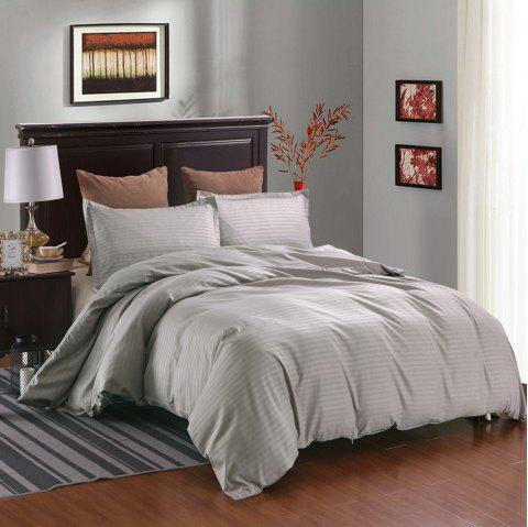 Three-piece Solid Color Bedding Set for Home Hotel - GRAY QUEEN