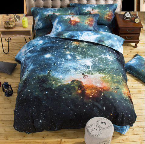 Starry Sky Style Three-piece Solid Color Bedding Set for Home Hotel - BLUE QUEEN