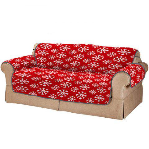 3D Digital Printed Red Snowflake Pattern Home Sofa Cover - RED DOUBLE