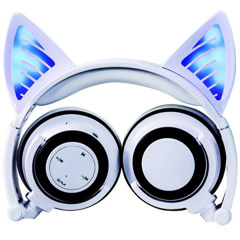 LX-BL08 Cat Ear Bluetooth Sports Headset Headband Foldable Universal Wire Control Headphone with Mic - WHITE