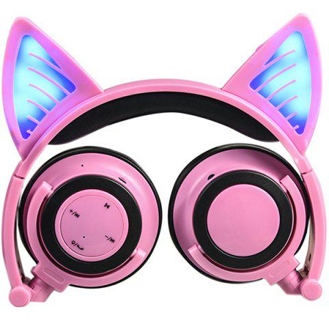 LX-BL08 Cat Ear Bluetooth Sports Headset Headband Foldable Universal Wire Control Headphone with Mic - PINK