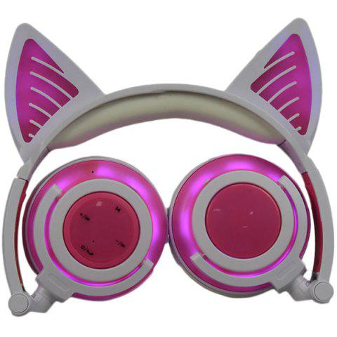 LX - BBL108 Cat Ear Bluetooth Headphones Foldable Wireless Headset with LED Light and Microphone - PINK