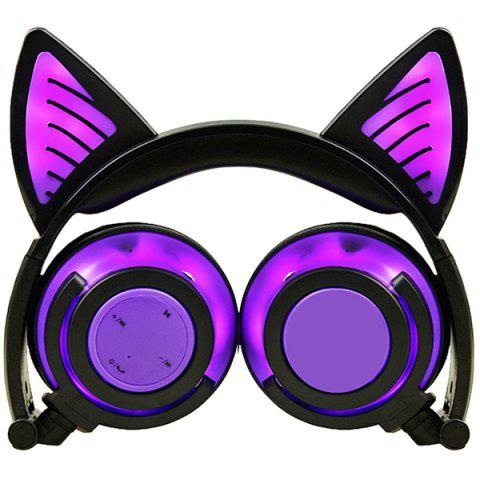 LX - BBL108 Cat Ear Bluetooth Headphones Foldable Wireless Headset with LED Light and Microphone - PURPLE