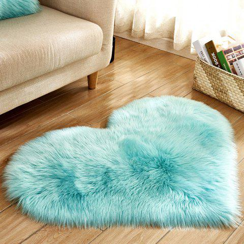 Simple Love Shape Wool-like Carpet - DAY SKY BLUE 30 X 40 CM