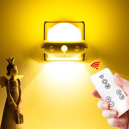 220V Plug-in Remote Control Creative Human Body Induction Lamp Flying Saucer Night Light - YELLOW