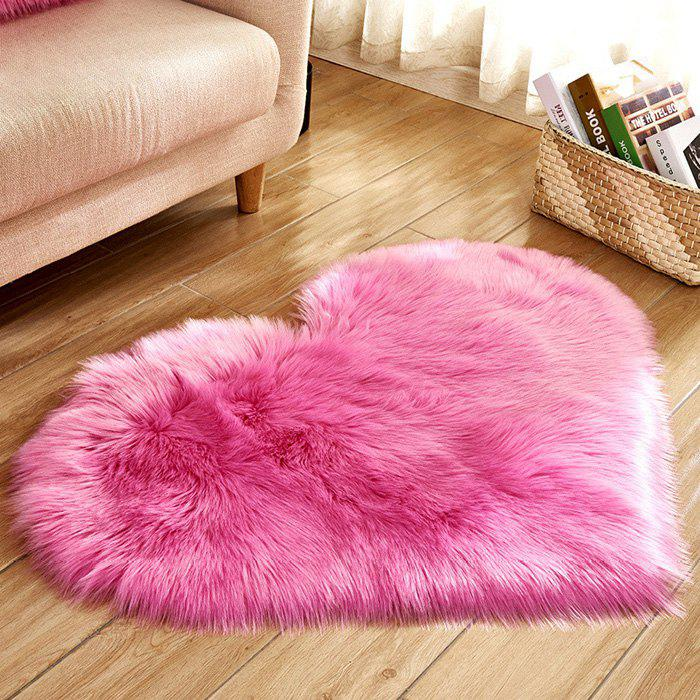 Solid Color Love Shape Wool-like Carpet Mat Mattress Blanket Sofa Cushion Mat Plush Carpet 30x40cm - DEEP PINK