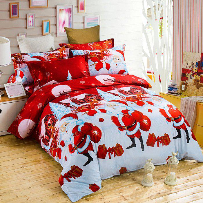 Christmas Joy Santa Happy Gifts Foreign Trade 3D Bed Home Furnishing Bedding 3pcs - RED QUEEN