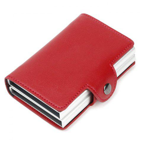 Automatic Pop-up Metal Wallet Anti-theft Anti-magnetic Aluminum Alloy Card Holder - RED WINE