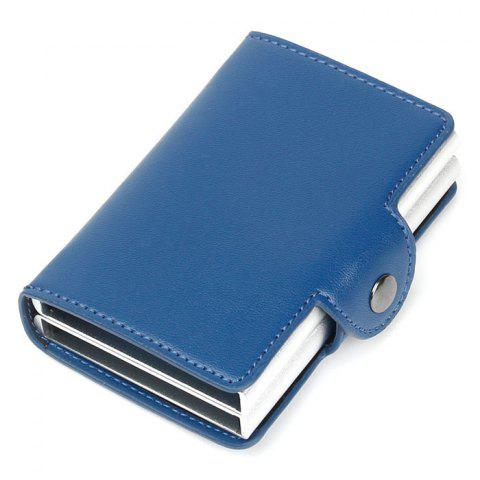 Automatic Pop-up Metal Wallet Anti-theft Anti-magnetic Aluminum Alloy Card Holder - SILK BLUE
