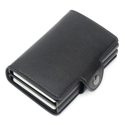 Automatic Pop-up Metal Wallet Anti-theft Anti-magnetic Aluminum Alloy Card Holder - BLACK
