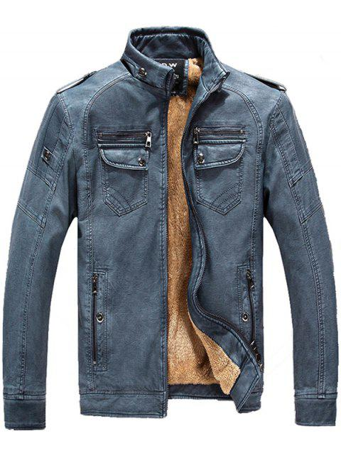 Men Fashionable Stand Collar Short Pile Leather Jacket - WINDOWS BLUE L
