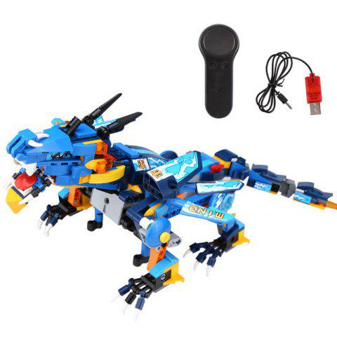 13018 Small Particles Assembled Electric Remote Control Dragon Model Educational Building Block Toy - DODGER BLUE