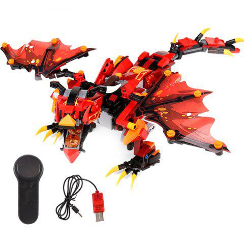 13019 Small Particles Assembled Electric Remote Control DIY Dragon Model Educational Building Block Toy - RED