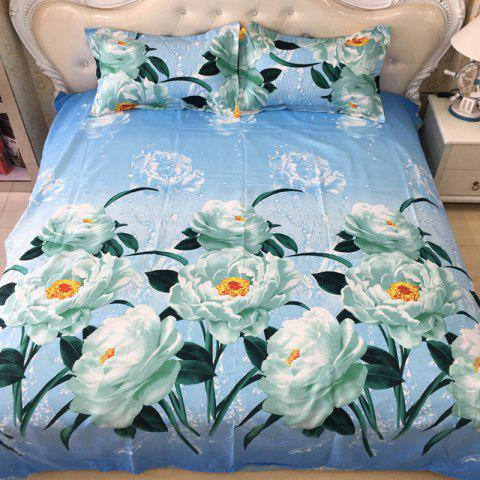 Quilted Pillowcase Bed Sheet Set 3D Printing Home Textile Bedding 4pcs - DAY SKY BLUE