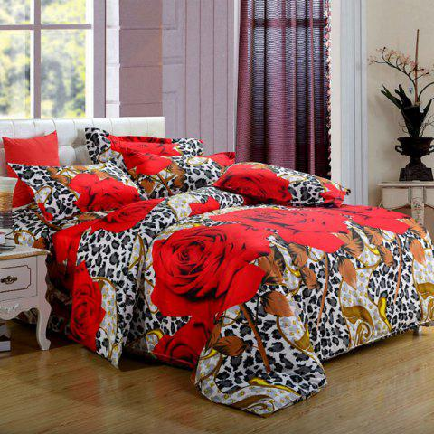 Quilt Cover Pillowcase Bed Sheet 3D Home Textile Bedding Set - RED