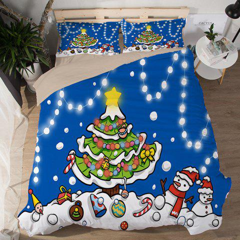 Christmas Happy Santa Gift Quilted Pillow Case Sheets 3D Home Textiles Bedding 4PCS - BLUE UK KING