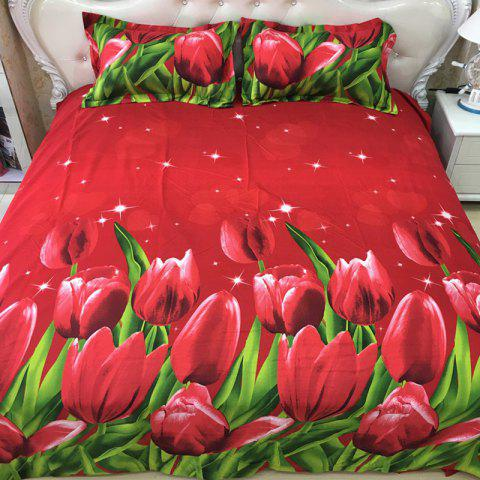 Quilted Pillowcase Bed Sheet Set 3D Printing Home Textile Bedding 4pcs - RED