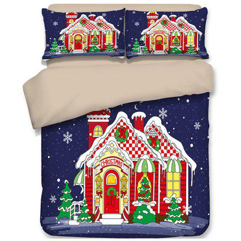Christmas Happy Santa Gift Quilted Pillow Case Sheets 3D Home Textiles Bedding 4PCS - PURPLE QUEEN