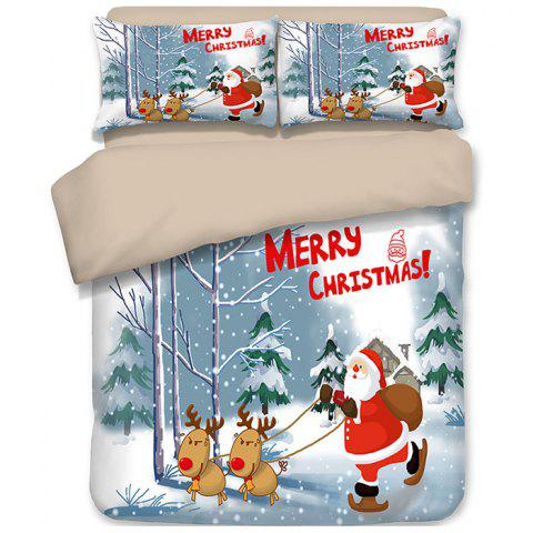 Christmas Happy Santa Gift Quilted Pillow Case Sheets 3D Home Textiles Bedding 4PCS - GREEN KING