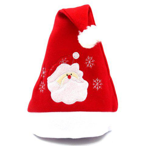 Flannel Embroidered Christmas Hat - RED