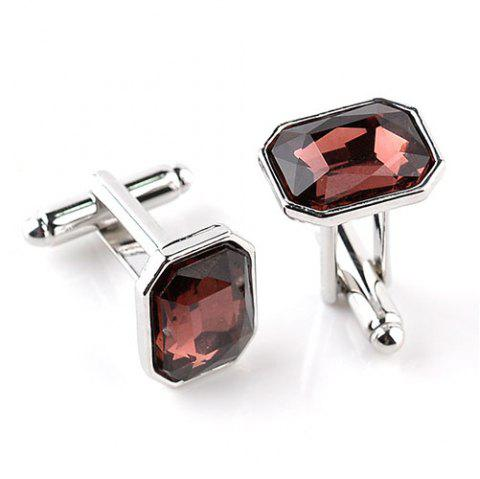 Men's Glass Drill Cufflinks Creative Colorful 2pcs - CHESTNUT RED