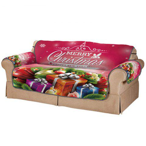 3D Digital Printed Cartoon Christmas Gift Pattern Sofa Cover - multicolor A DOUBLE